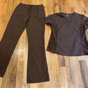 Cherokee Scrub Set Brown Med Tall Pants Large Top